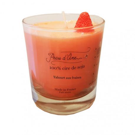 Bougie Parfumée avec Bijou, Senteur Yahourt aux fraises