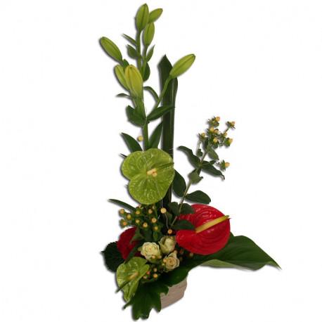Composition florale pétillante