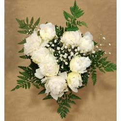 Bouquet de 7 pivoines blanches