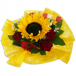 bouquet rond de tournesols