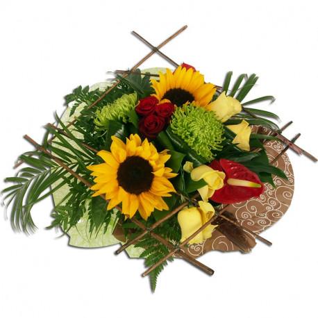 bouquet rond d'été tournesols