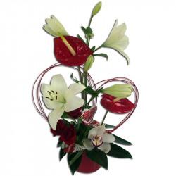 Composition florale rouge et blanc