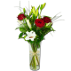 bouquet de lys blanc et roses rouges