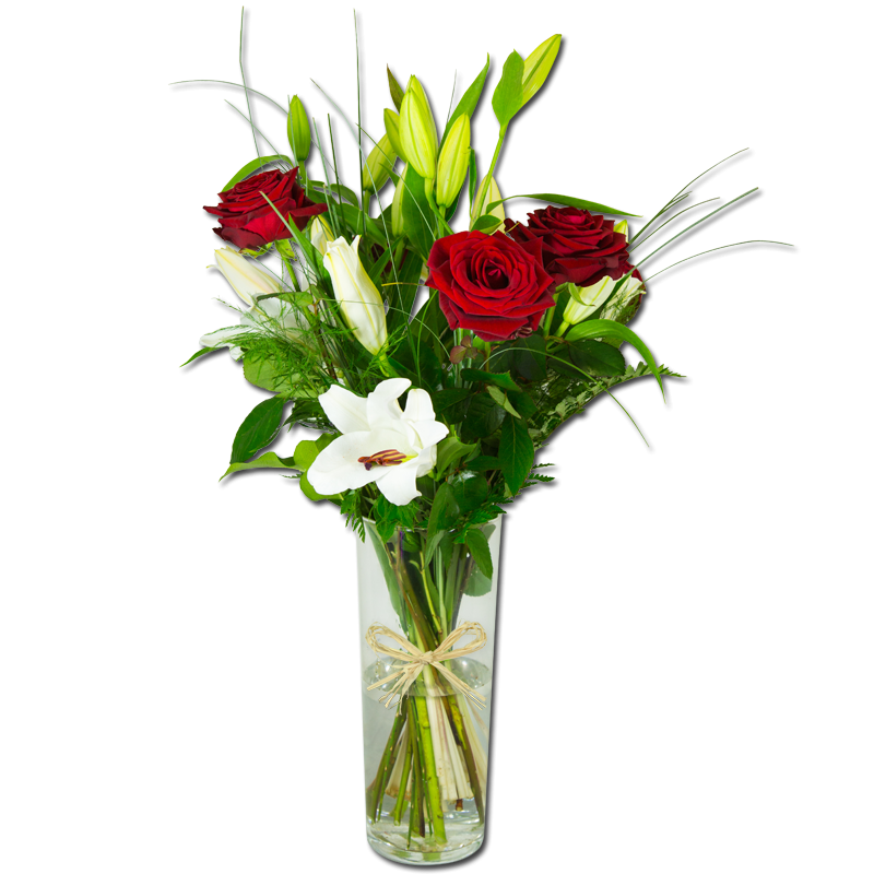 Bouquet de lys blanc et roses rouge for Bouquet de rose
