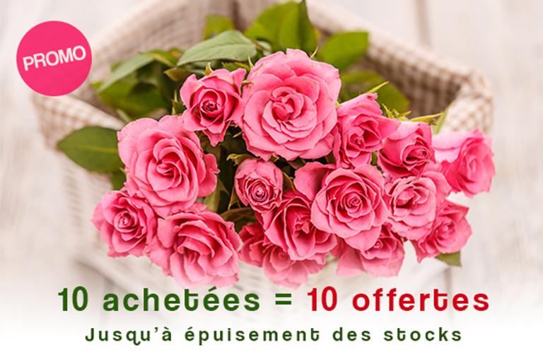 10 roses achetées = 10 roses offertes